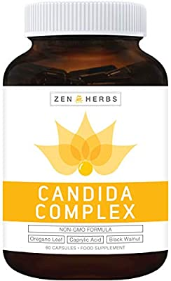 Candida Cleanse & Yeast Support 60 Capsules (NON-GMO) Powerful Natural Herbs: Caprylic Acid & Oregano Oil Extract from Zen Herbs