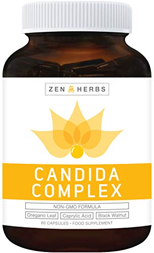 Candida Complex & Yeast Support 60 Capsules (Non-GMO) Powerful Natural Herbs: Caprylic Acid & Oregano Leaf Extract for Healthy Yeast Balance & Natural Thrush Support Supplement - No Oil