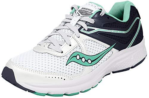 Saucony Women's Cohesion 11 Running Shoe, White/Teal, 8.5 Medium US