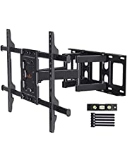 Perlegear Full Motion TV Wall Mount Bracket Dual Articulating Arms Swivels Tilts Rotation for Most 37-75 Inch LED, LCD, OLED Flat Curved TVs, Holds up to 132lbs, Max VESA 600x400mm