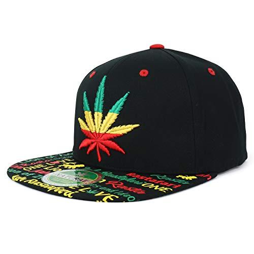 Trendy Apparel Shop Rasta Marijuana Leaf Weed 3D Embroidered Flat Bill Snapback Cap - Black Rasta