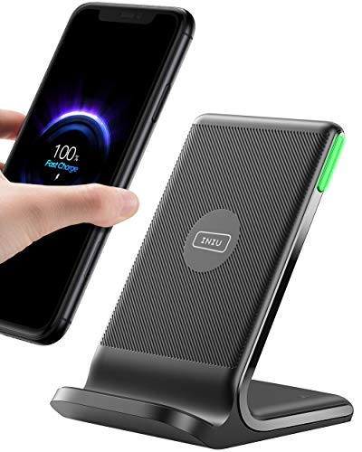 INIU Cargador Inalámbrico Rápido, 15W Qi Wireless Charger Estación Compatible con iPhone 12 11 Pro MAX XR XS X 8 Plus Samsung Galaxy S20 S10 S9 S8 Note10 9 AirPods Huawei Xiaomi etc