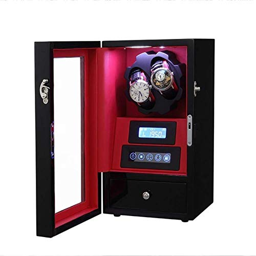 Inicio Accesorios 2 + 0 Enrollador automático de madera unisex para relojes Luz ambiental LED con bloqueo de cajón Control remoto Pantalla táctil LCD Enrolladores de rotación Deluxe Motor silencios