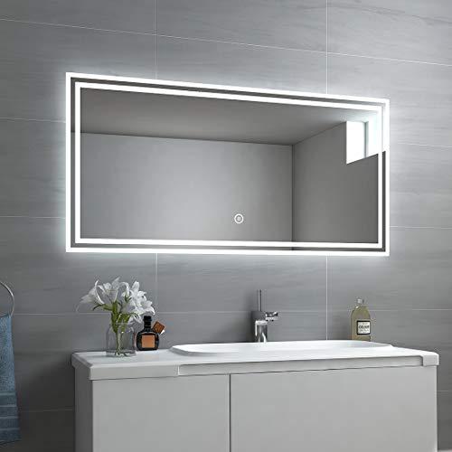 EMKE LED Badspiegel 120x60cm Badspiegel mit Beleuchtung kaltweiß Lichtspiegel Badezimmerspiegel mit Touchschalter IP44 energiesparend