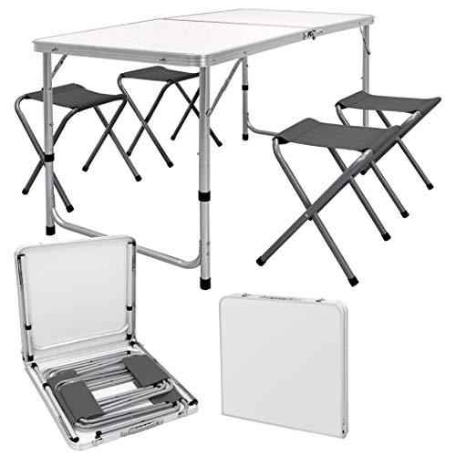 Mesa picnic plegable AURORA con juego de 4 taburetes plegables y con estuche