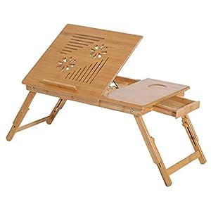 HOMCOM Mesa de Ordenador Portátil Bambú Bandeja de Cama Desayuno Plegable Reclinable Altura Ajustable Soporte Escritorio de regazo 1 Cajón 55x35x22-30cm