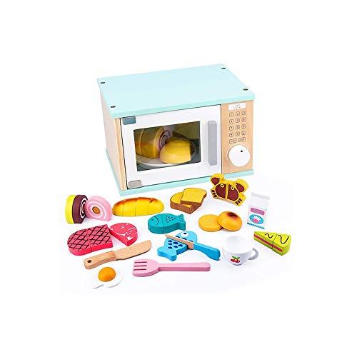 SYXX Giocattoli educativi for Bambini, Simulazione Bambini Kitchen Toys, Legno for Bambini Forno a microonde Giocattoli, Set Forno Simulazione Burger Giocattolo, Cucina Giocattoli