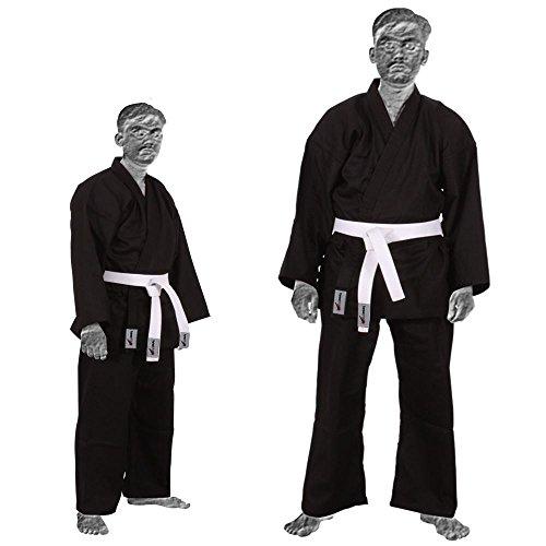 TurnerMAX–Kimono de Karate Artes Marciales algodón TAE KWON DO Uniforme Niños Jiu Jitsu Gi Judo niños Adultos Ropa Negro 180