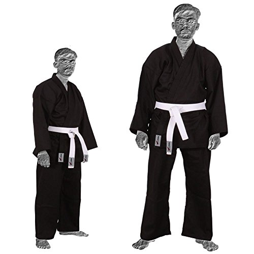 TurnerMAX Karate Traje de Artes Marciales Algodón Tae Kwon Do Uniforme Niños Jiu Jitsu Gi Judo Niños Adultos Ropa Negro 110