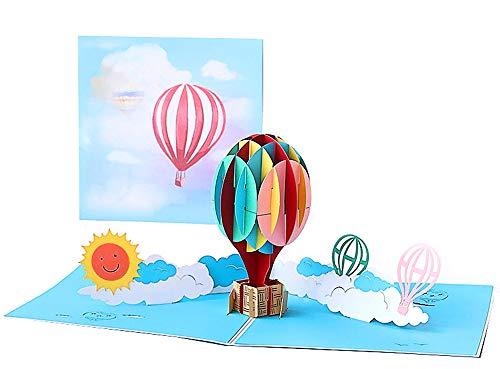 DEESOSPRO® [Tarjeta de Cumpleaños] [Tarjeta de Aniversario] [Tarjeta de Graduación] con Patrón Emergente 3D Creativo, Regalo para Cumpleaños, Graduación, Navidad, Día del Niño (Globo Aerostático)