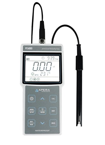 Apera Instruments PC400S tragbares pH/Leitfähigkeit Multi-Parameter Messgerät, mit GLP Datenverwaltung und USB Output