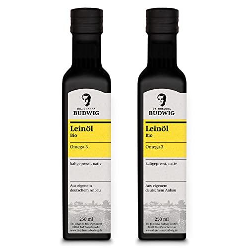 Dr. Budwig Vorratspaket - 100% naturbelassenes Bio Leinöl - JETZT NEU ZU 100% AUS EIGENEM DEUTSCHEN ANBAU! - kaltgepresst und ungefiltert (2 Flaschen Dr. Budwig Omega-3 Leinöl á 250 ml)