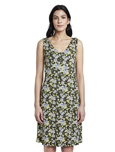 TOM TAILOR Damen Kleider & Jumpsuits Gemustertes Kleid mit V-Ausschnitt small Khaki floral Design,36