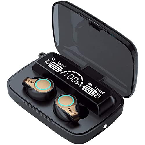 GEQWE Auriculares Inalámbricos Auriculares Intrauditivos Bluetooth 5.0 para iPhone Android LED Shows Digitales, IPX7 Auriculares Deportivos Impermeables, Control Táctil para Gimnasio, Oficina
