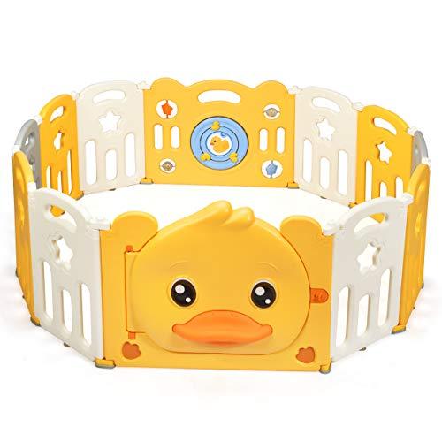 COSTWAY Box Recinto per Bambini da Giocare, Pieghevole con 14 Pannelli, con Porta e Giochi Multipli (160 x 127 x 67 cm)