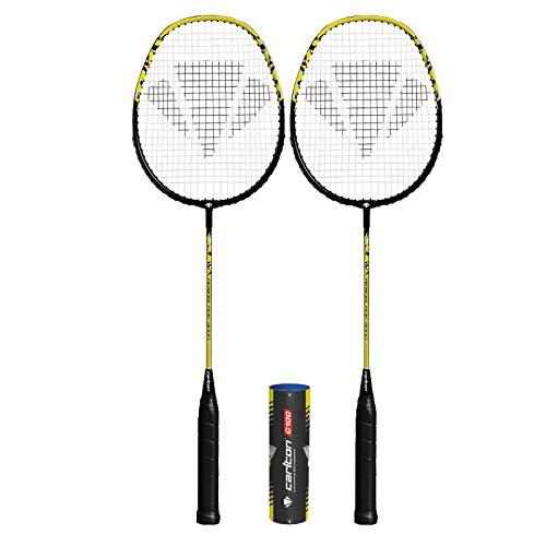 DUNLOP Carlton Aeroblade Badmintonschläger x 2 + 6 Federbälle (verschiedene Modelle erhältlich) (Aeroblade gelb 3000 x 2)