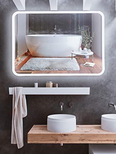 Mr.Claymore, Espejo de baño con iluminación, 60 x 80 cm, espejo de baño con iluminación, espejo de pared con interruptor táctil, espejo grande, espejo LED, espejo de baño, clase energética A+