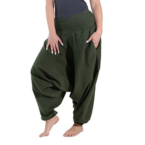 KUNST UND MAGIE Unisex Orientalische Haremshose Pluderhose Pumphose, Farbe:Grün
