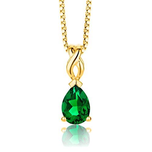 ByJoy Damen-Kette Mit Anhänger 925 Sterling- Silber Tropfenschliff Grün Synthetischer Smaragd 45cm