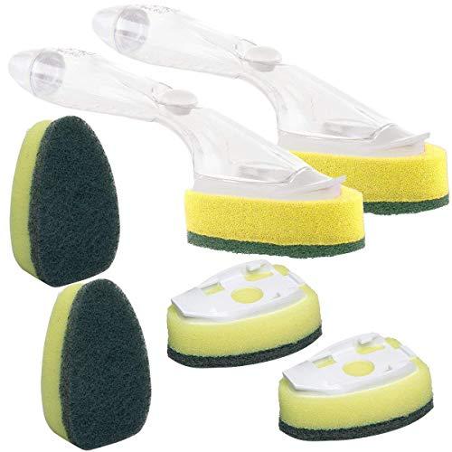 Taottao Heavy Duty Plat à baguette magique éponge pour évier de cuisine Brosse de nettoyage (2 Dishwands et de recharge de 6 têtes de remplacement)