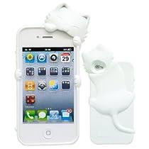 iPhone4S 用 ジェリーケース 立体ネコKIKI (キキ) ホワイト