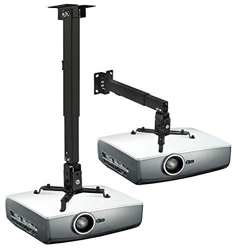 Mount-It! Wall or Ceiling Projector Mount with Universal LCD/DLP Mounting for Epson, Optoma, Benq, ViewSonic Projectors, 44lb Load Capacity, Black