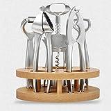 NOBRAND JSWFZ Muy práctico aleación de Zinc Gadget Set pelador de ajos Nuez Clip de Vino abridor de Cerveza abridor sólido Base de Madera, Set, (Color : Silver)