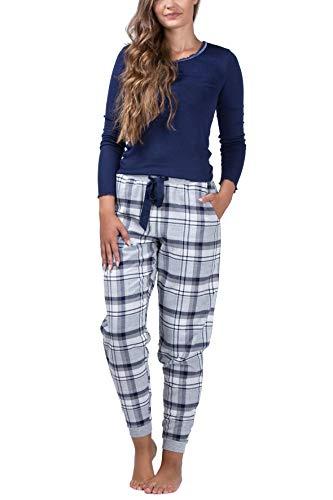 maluuna Damen Schlafanzug mit Flanellhose und Bündchen, Farbe:Navy, Größe:S