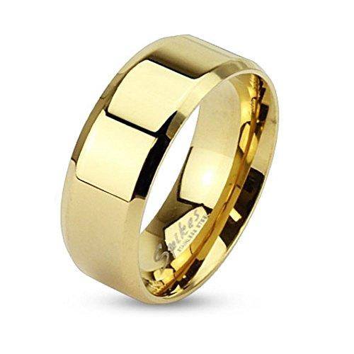 Bungsa 64 (20.4) Goldener Ring klassisch Edelstahl mit abgerundeten Kanten für Damen & Herren 49-70 (Fingerring Schmuckring Partnerringe Verlobungsringe Trauringe Damenring Chirurgenstahl Frauen)