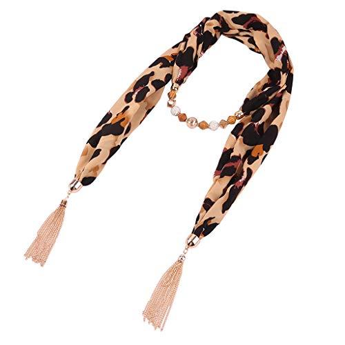 Yue668 - Pañuelo para mujer, collar de bisutería para mujer, babero de cadena con perlas con flecos, babero grande estampado de leopardo en piel de serpiente, color b taille unique