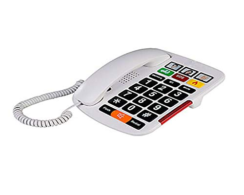 Big Button Corded Phone with 3 One-Touch Speed Dials + Headphone Compatible + Picture Phone Dialing for Seniors - Desktop Only- Not Wall Mountable - Color, White - iSoHo Phones