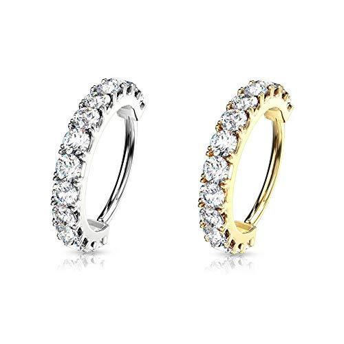 AWAKEN Pendientes de aro de clicker con cristales Swarovski brillantes para mujer, cartílago, septum, helix, de acero quirúrgico 316L (PO-136) Diametro Anello 6mm dorado