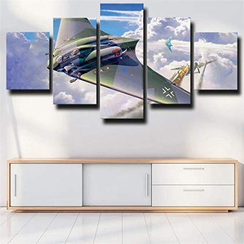 IJNHY Cuadro Dibujo De Aviones Militares Combatiente 5 Piezas De Arte De Pared XXL Impresiones En Lienzo 5 Piezas Cuadro Moderno para El Arte De La Pared del Hogar 150×80Cm HD Impreso Mural Enmarcado