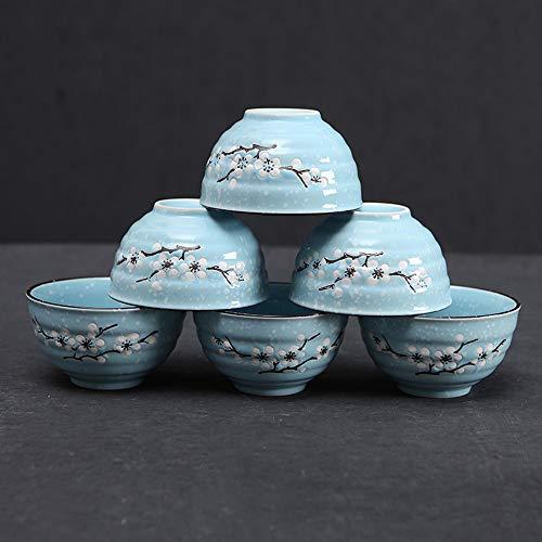 RKY Bol- Bol en céramique japonaise créative ménage bol de soupe de riz bol ensemble 6 bols de vaisselle de cuisine vaisselle-7 couleurs /-/ (Couleur : E)