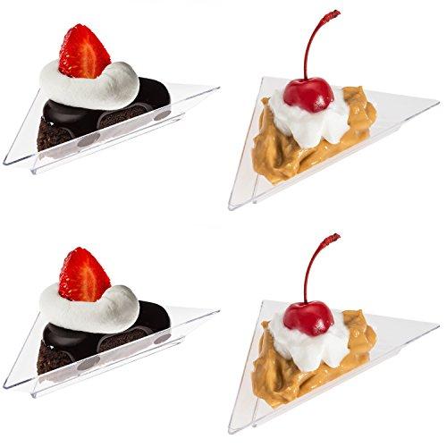 Prexware Triangular Mini Dessert Plates- 48 Triangler Clear Mini Plastic Dessert Plates, Great for appetizer tabel desserts