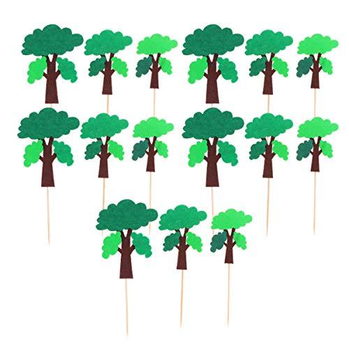 Hemoton 5 Sets Tree Cupcake Topper Evergreen Tree Picks Cupcake Toppers Pine Tree Picks Cake Decoration for Birthday Baby Shower