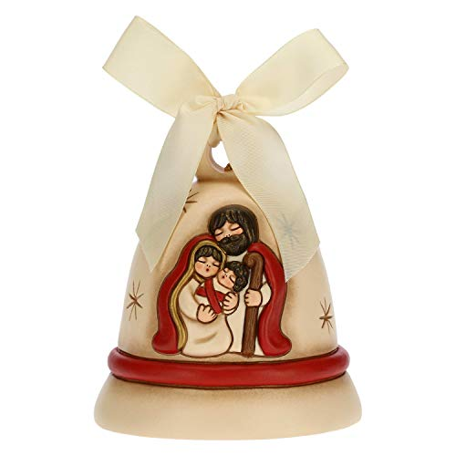 THUN - Addobbo per Albero di Natale Campanella Sacra Famiglia - Decorazioni Natale Casa - Ceramica - 10,7 x 10,7 x 12 h cm