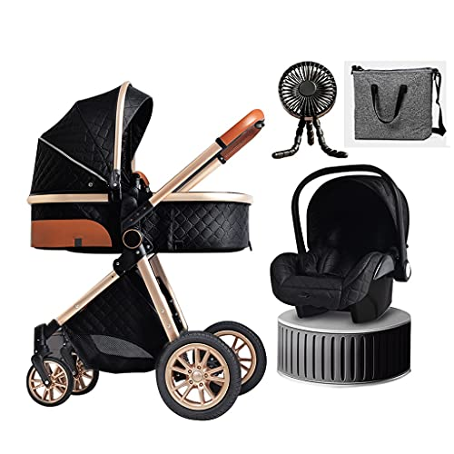 JIAX Baby Carriage Stroller 3 in 1 Foldable Baby Stroller Travel System with Car Seat Easy Fold Stroller Footmuff Blanket Cooling Pad Rain Cover Backpack Mosquito Net (Color : Black)