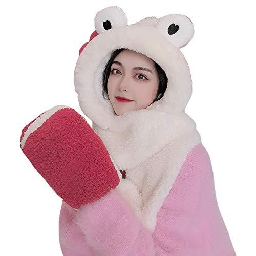 WT-YOGUET Women Winter Warm 3 in 1 Fuzzy Plush Cartoon Eye Ear Hooded Scarf Hat Gloves Set