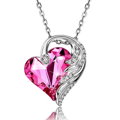 CRYSLOVE Collier Coeur Rose pour Femme Aile d'ange Cristaux...