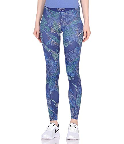 NIKE W Nk Tght Vcty Mod Floral CAM Mallas, Mujer, Blue Void/White, M