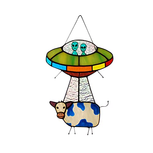 WULOVEMI UFO Pannello per finestre di Vetro Macchiato di Mucca aliena - Window Window Window Hanging, UFO Ornamenti a Sospensione, Vetro colorato Suncatchers Art for Doors Windows Decor
