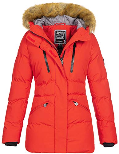 Geographical Norway - Chaqueta de invierno para mujer, con capucha de piel rojo XL