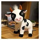JSJJATQ Peluche 1 unid Lindo Ganado Peluche Juguetes Kawaii simulación Leche Vaca Peluche muñeca rellena Suave Almohada para niños niños Regalos de cumpleaños (Color : Black, Height : 28cm)