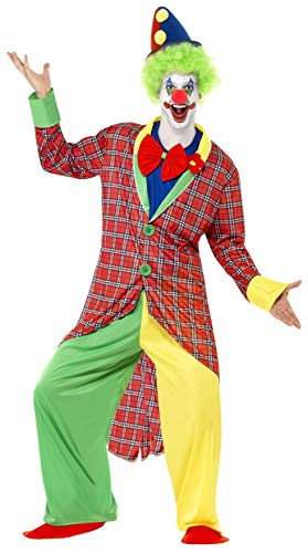 La Circus Deluxe Clown Kostüm mit Jacke Hose Mock Hemd mit Fliege und Überschuhen, Large