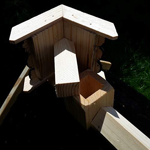 Vogelhaus-XL Schwarz- Vogelhäuser-Vogelfutterhaus Vogelhäuschen-aus Holz Wetterschutz Putzklappe - 4