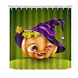 JYEJYRTEJ Süßer Kürbis Duschvorhang für Badezimmer, waschbar, schnell trocknend, 3D-HD-Druck, 12 Haken, 180 * 180 cm, Badzubehör des Halloween-Hexenhutes