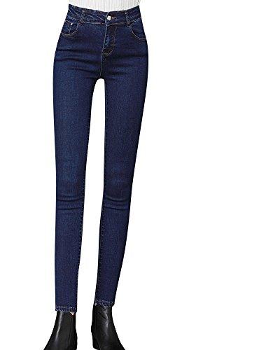 Kasen Mujer Vaquero Skinny Push Up Pantalones Elástico Jeans Cintura Alta Azul Marino 28