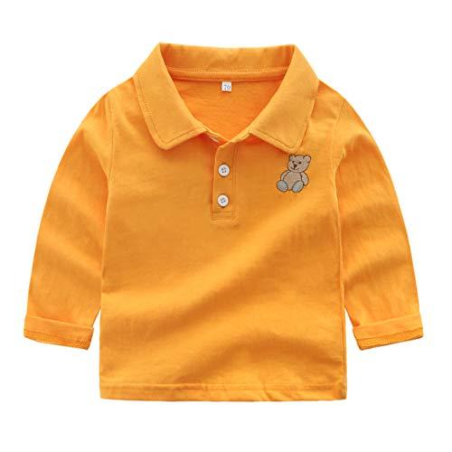 happy event_baby Happy Event Kleinkind Kind Baby Boy Kleidung Langarm Cartoon Bär Pullover T-Shirt (Gelb, 18-24 Months-100)