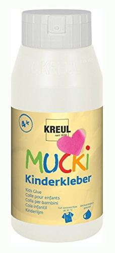 Kreul 24383 - Mucki Kinderkleber, 750 ml Flasche, wasserlöslich, lösemittelfrei, PVC-frei, geruchlos, universell einsetzbar, parabenfrei, glutenfrei, laktosefrei, vegan, auswaschbar, glasklar
